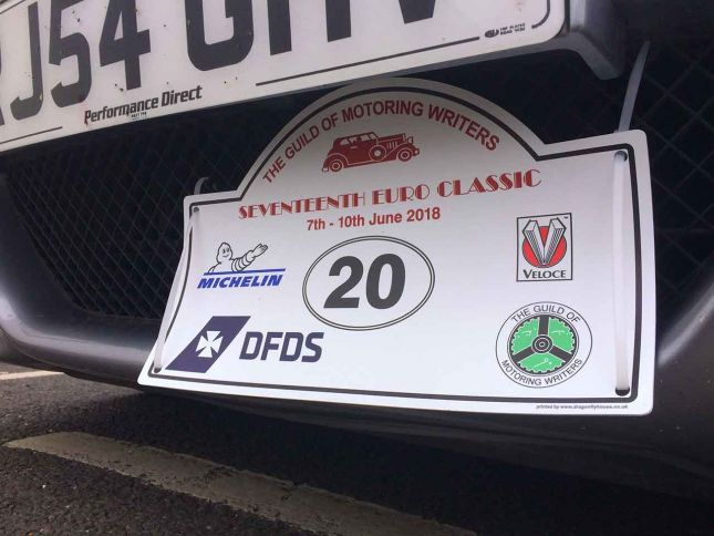 Guild of Motoring Writers EuroClassic rally plaque